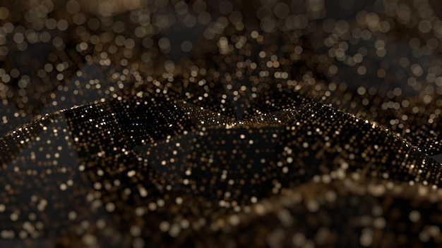Fundo abstrato de brilho. faíscas de ouro e destaques. ilustração 3d, renderização em 3d.