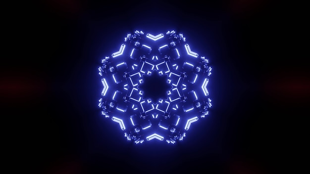 Fundo abstrato de corredor escuro ornamental com luz de néon azul brilhante