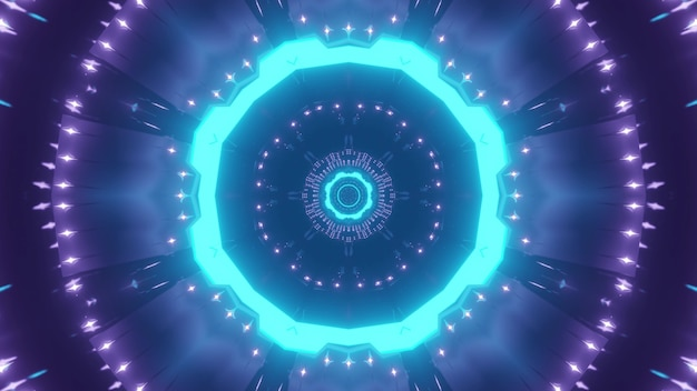Fundo abstrato de corredor futurista em forma de círculo iluminado por luz de néon azul