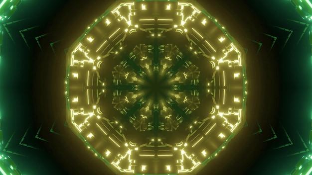 Fundo abstrato de corredor redondo iluminado por luz neon verde