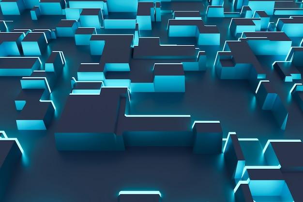 Fundo abstrato de cubos azuis e painéis de luz