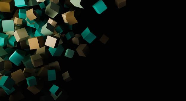 Fundo abstrato de cubos desordenados flutuando sobre um fundo escuro. 3d render