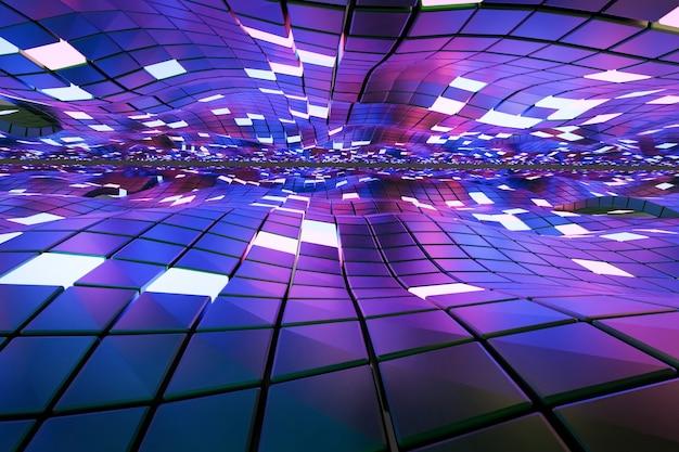 Fundo abstrato de cubos e painéis de luz