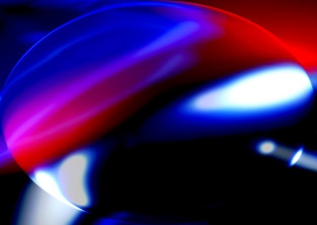 Fundo abstrato de esferas ovais pretas com reflexos luminosos coloridos em fundo preto com