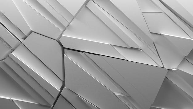 Fundo abstrato de geometria fraturada feito de pedaços fatiados e formas aleatórias, formas nítidas com reflexos de luz e sombras