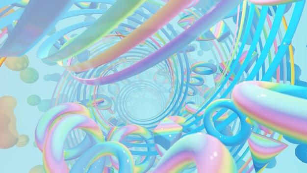Fundo abstrato de geometria holográfica para papel de parede na cena retro e holográfica dos anos 80