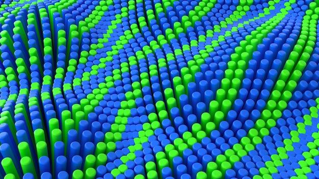 Fundo abstrato de linhas verdes azuis com cilindros