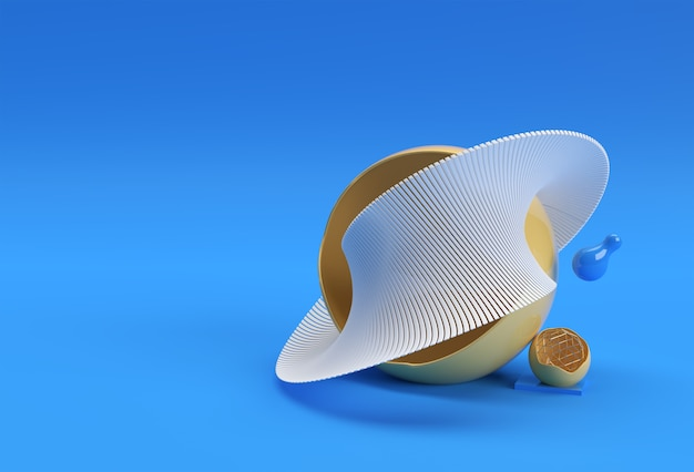 Fundo abstrato de renderização 3d com linha de onda. conceito de arquitetura criativa.