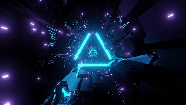 Fundo abstrato de túnel de ficção científica em forma de triângulo com tijolos iluminados por cores neon azul e roxo