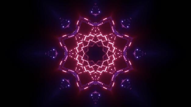 Fundo abstrato de túnel escuro sem fim com formas geométricas brilhando com cores neon vermelho e azul