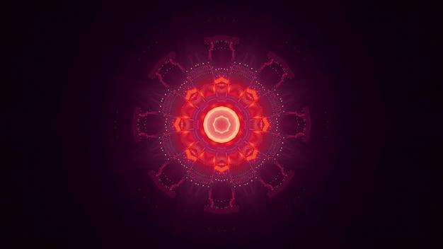 Fundo abstrato de túnel ornamental em forma de círculo brilhando com luzes de néon vermelhas e rosa