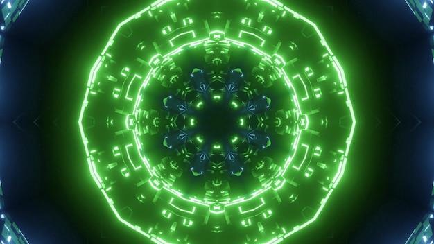 Fundo abstrato de túnel redondo com luzes de néon azuis e verdes