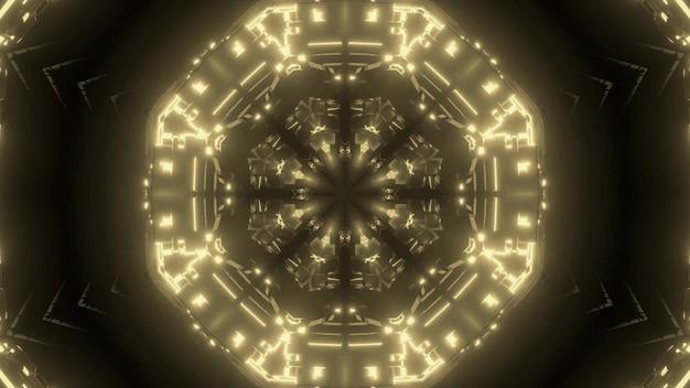 Fundo abstrato de túnel sem fim em forma de círculo brilhando com luz de néon sépia