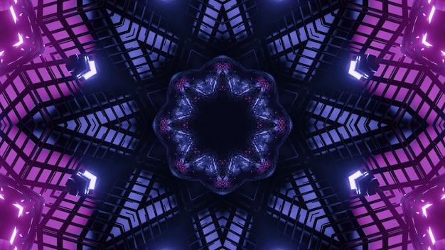 Fundo abstrato de um túnel em forma de estrela caleidoscópica com formas geométricas iluminadas por cores neon azul e roxo