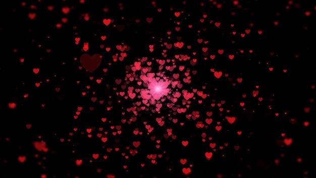 Fundo abstrato digital preto com partículas heart-shaped.