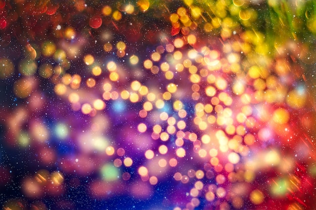 Fundo abstrato do bokeh. fundo de bokeh de festa de natal e ano novo com copyspace. fundo de bokeh de luzes festivas.