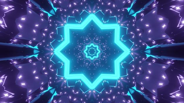 Fundo abstrato do corredor caleidoscópico infinito com formas geométricas brilhando em tons de néon azul e roxo