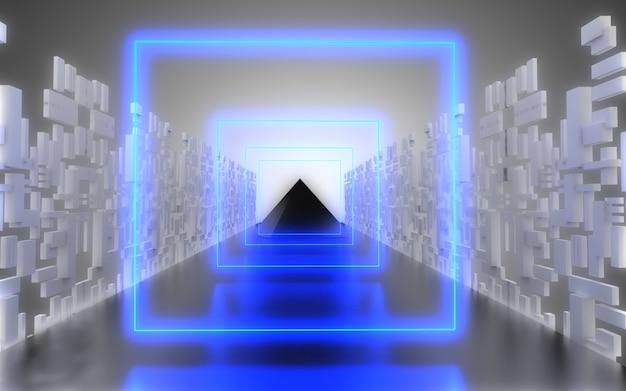 Fundo abstrato do corredor da nave espacial alienígena. ilustração 3d