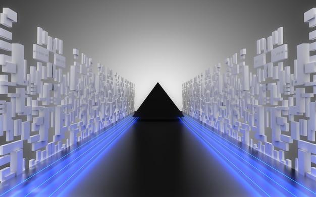 Fundo abstrato do corredor da nave espacial alienígena. ilustração 3da