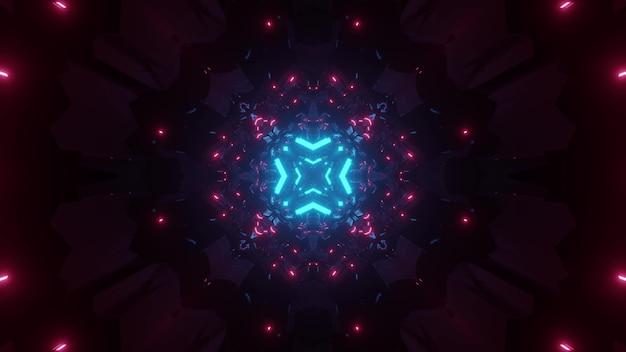 Fundo abstrato do corredor escuro de ficção científica em forma de cruz com iluminação de néon rosa e azul