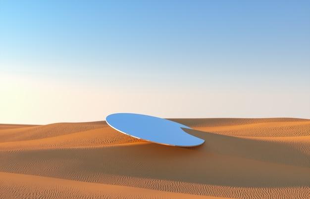 Fundo abstrato do deserto com cenário de pódio de espelho. 3d rendem.