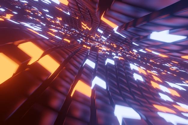 Fundo abstrato do espaço 3d com uma perspectiva de cubos do metal e de elementos brilhantes da luz. caminho para o infinito.