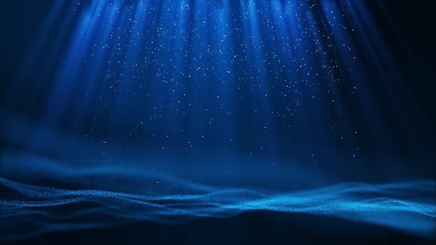 Fundo abstrato do formulário de partícula de azul claro escuro com queda e cintilação de partículas de raio de feixe de luz. renderização 3d.