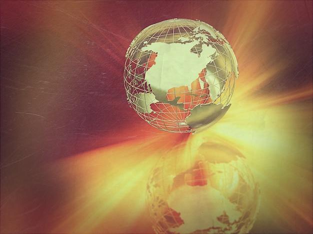 Fundo abstrato do globo com um efeito retro do vintage