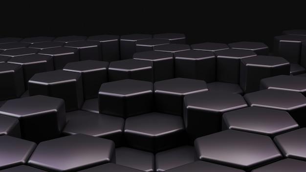 Fundo abstrato do hexágono conceito de tecnologia futurista ilustração 3d padrão geométrico hexadecimal célula de carbono preta