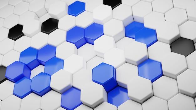 Fundo abstrato do hexágono conceito de tecnologia futurista. ilustração 3d. padrão geométrico hexadecimal. célula de carbono. preto e branco-azulado.