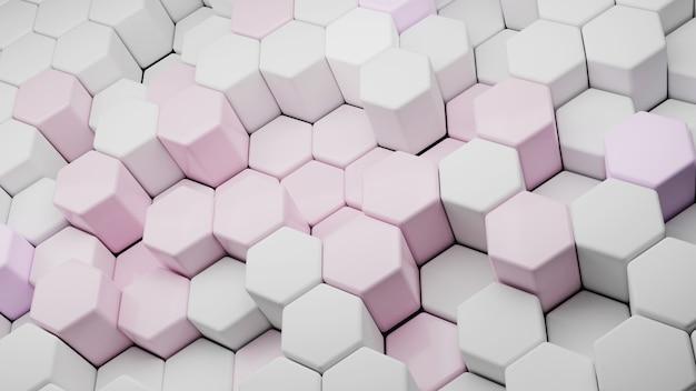 Fundo abstrato do hexágono conceito de tecnologia futurista ilustração 3d padrão geométrico hexadecimal célula de carbono rosa pastel