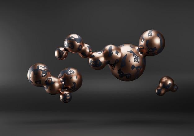 Fundo abstrato do metaball líquido ouro e preto. 3d render em estilo moderno contemporâneo. renderização de queda de meados do século. ilustração 3d de alta qualidade
