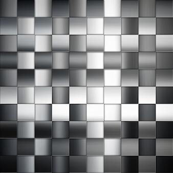Fundo abstrato do metal com quadrados padrão