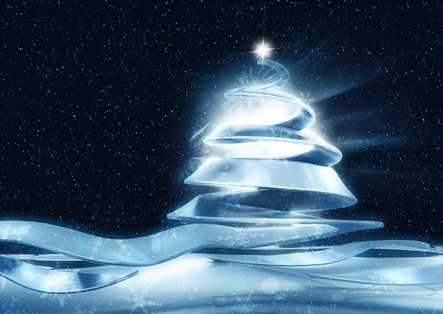 Fundo abstrato do natal com árvore de fita
