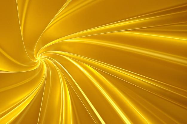 Fundo abstrato do ouro de torcer bandas tridimensionais na ilustração do túnel 3d