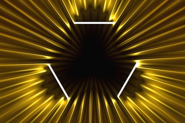 Fundo abstrato do ouro iluminado com ilustração 3d iluminada quadro de néon