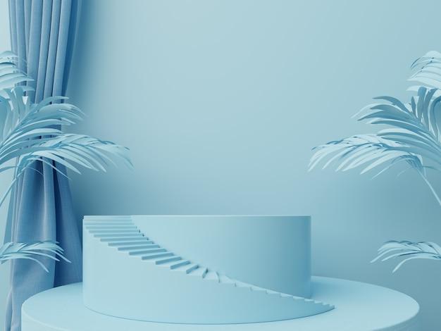 Fundo abstrato do pódio para a colocação de produtos e para a colocação de prêmios com azul.