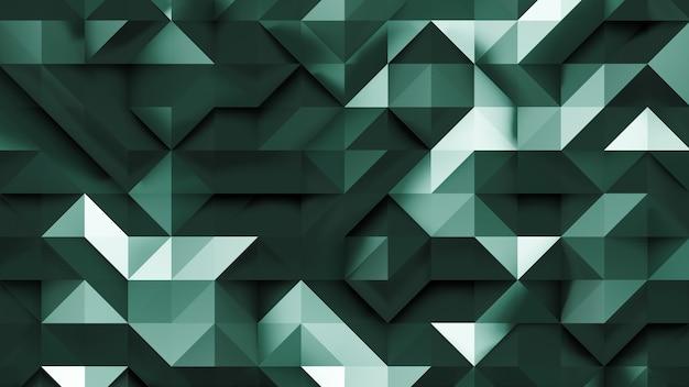 Fundo abstrato do triângulo esmeralda 3d em perspectiva 2d
