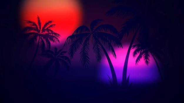 Fundo abstrato do verão retrô, palmeiras na noite. ilustração 3d elegante e luxuosa dos anos 80 e 90