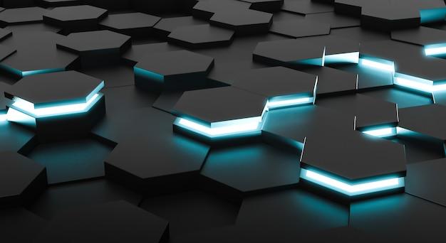 Fundo abstrato dos hexágonos da superfície futurista. renderização em 3d