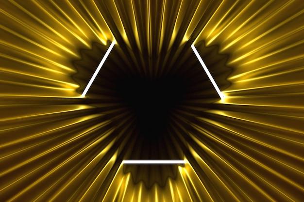 Fundo abstrato dourado iluminado com moldura de néon iluminado