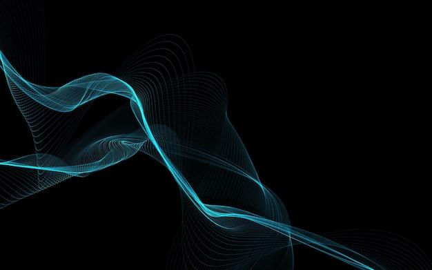 Fundo abstrato escuro com ondas abstratas brilhantes