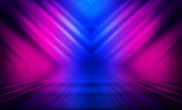 Fundo abstrato escuro vazio. fundo da cena vazia. brilho de luzes de neon e figuras de neon em um palco vazio de concerto. reflexo da luz na calçada.
