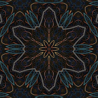 Fundo abstrato escuro vintage retro ornamentado, elementos de padrão geométrico simétrico curvado, efeito caleidoscópio