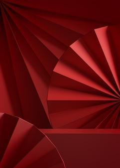 Fundo abstrato festivo de tampo de mesa vermelho para colocação de produtos