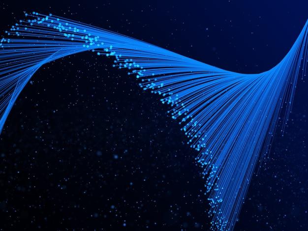 Fundo abstrato fluxo 3d com raios e pontos cibernéticos