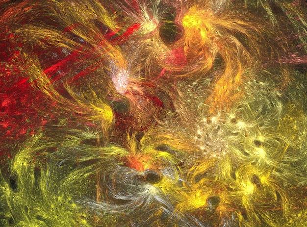 Fundo abstrato fractal de redemoinho amarelo sobre o preto