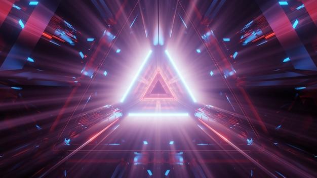 Fundo abstrato futurista com luzes de néon brilhantes