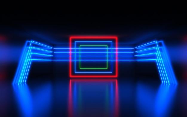Fundo abstrato futurista. sala com luz de néon. fundo 3d abstrato