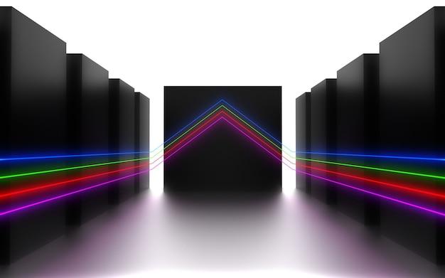 Fundo abstrato futurista. sala com luz de néon. ilustração 3d